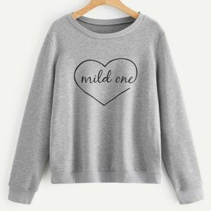 NWT Gray Mild One Heart Sweatshirt XSMALL